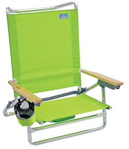 Classic 5 Position Lay Flat Folding Beach Chair - Lime : Sports & Outdoors