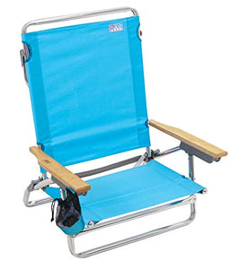 Classic 5 Position Lay Flat Folding Beach Chair - Turquoise : Sports & Outdoors