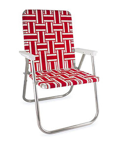 Webbing Chair (Deluxe, Red and White with White Arms) : Garden & Outdoor