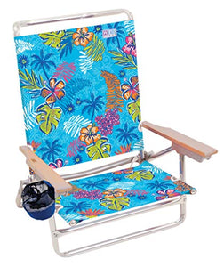 5 Position Lay Flat Folding Beach Chair - Totally Tropical Rainforest : Sports & Outdoors