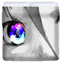 Anime Girl Eyes 2 Black And White Blue Eyes 2 - Duvet Cover