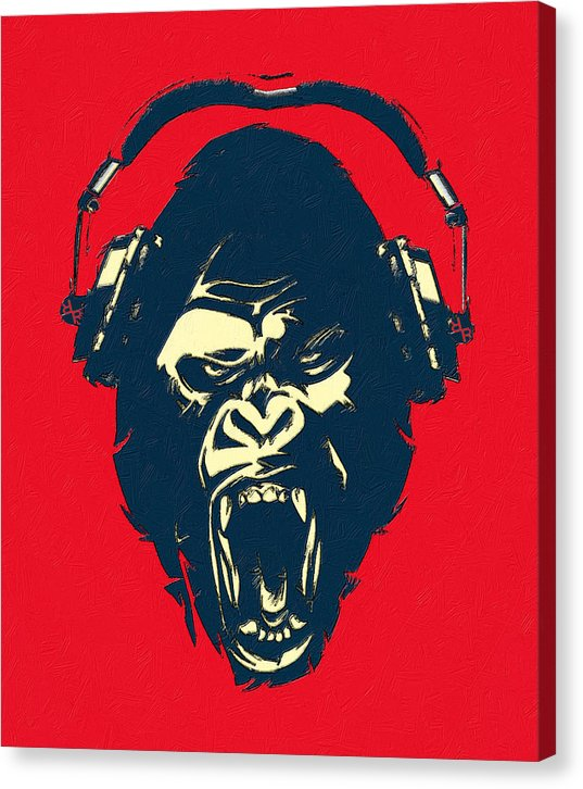 Ape Loves Music With Headphones - Canvas Print
