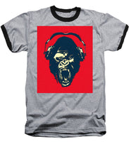 Ape Loves Music With Headphones - Baseball T-Shirt