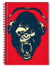Ape Loves Music With Headphones - Spiral Notebook