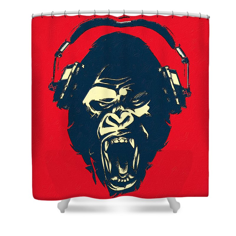 Ape Loves Music With Headphones - Shower Curtain
