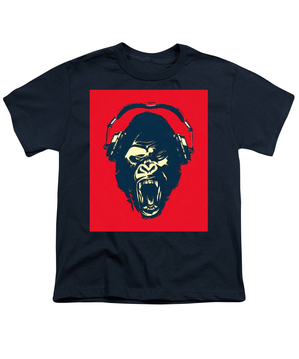 Ape Loves Music With Headphones - Youth T-Shirt