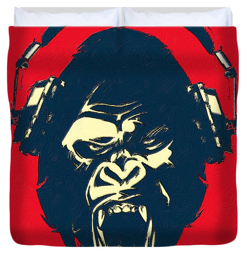 Ape Loves Music With Headphones - Duvet Cover