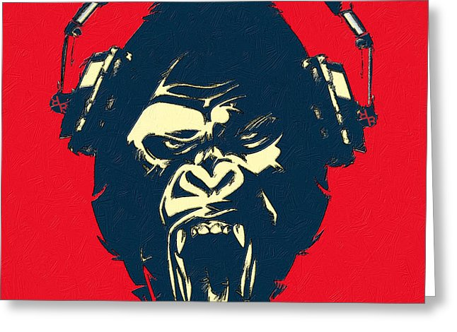 Ape Loves Music With Headphones - Greeting Card