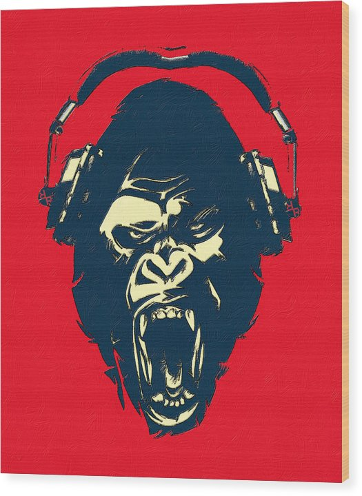 Ape Loves Music With Headphones - Wood Print