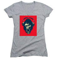 Ape Loves Music With Headphones - Women's V-Neck (Athletic Fit)