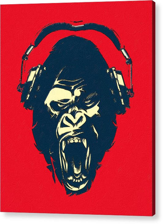 Ape Loves Music With Headphones - Acrylic Print