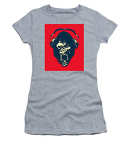 Ape Loves Music With Headphones - Women's T-Shirt (Athletic Fit)