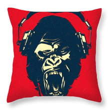 Ape Loves Music With Headphones - Throw Pillow