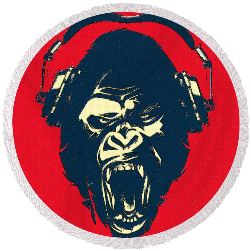 Ape Loves Music With Headphones - Round Beach Towel