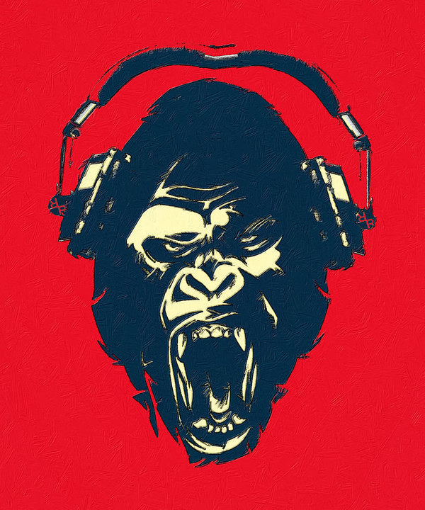 Ape Loves Music With Headphones - Art Print