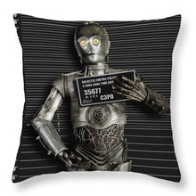 C-3po Mug Shot - Throw Pillow