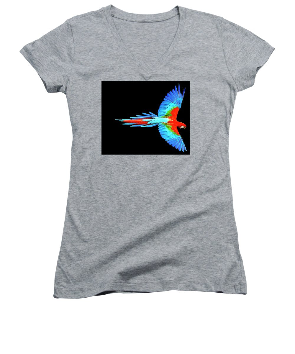 Colorful Parrot In Flight - Women's V-Neck (Athletic Fit)
