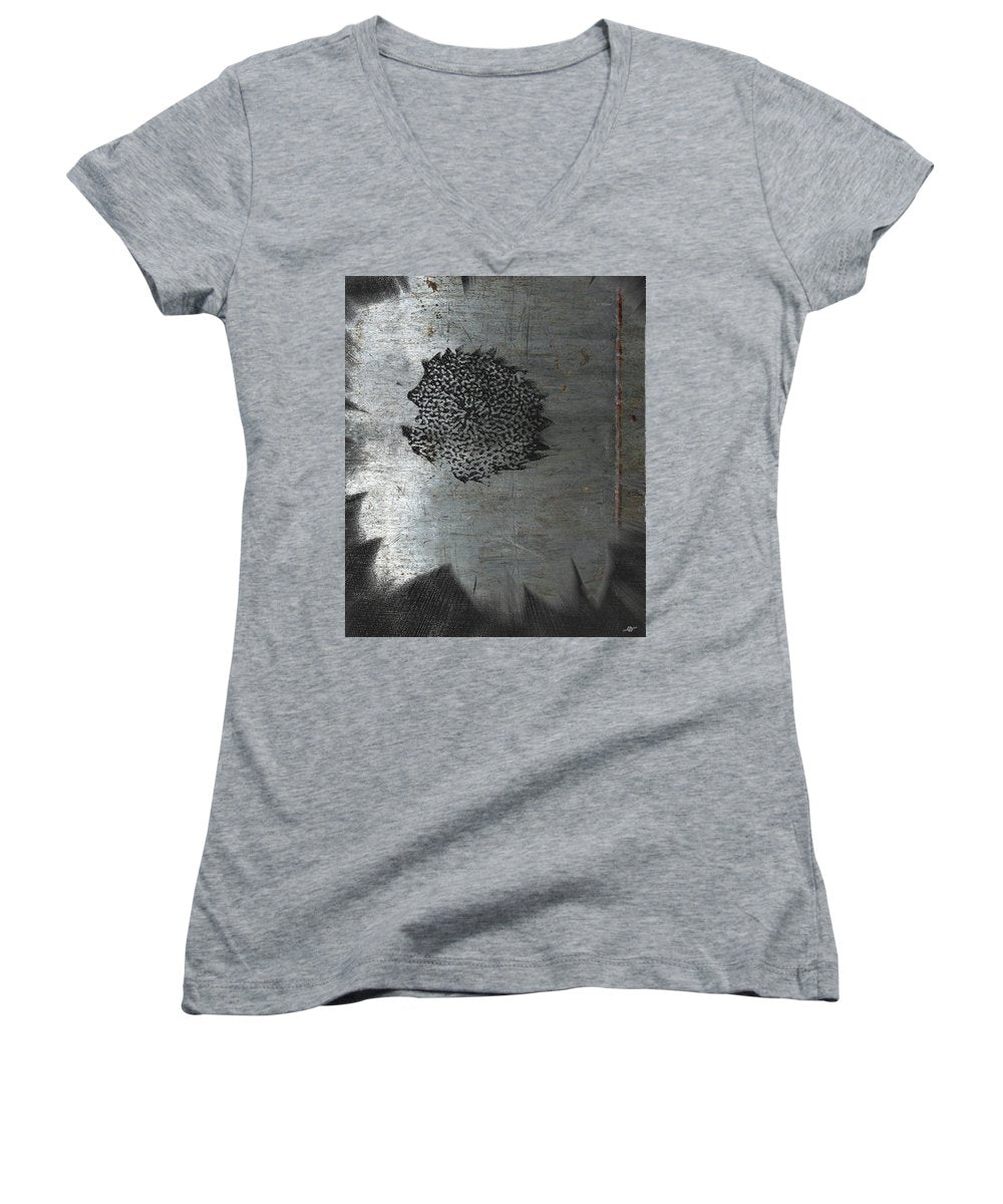 Dirty Silver Sunflower - Women's V-Neck (Athletic Fit)