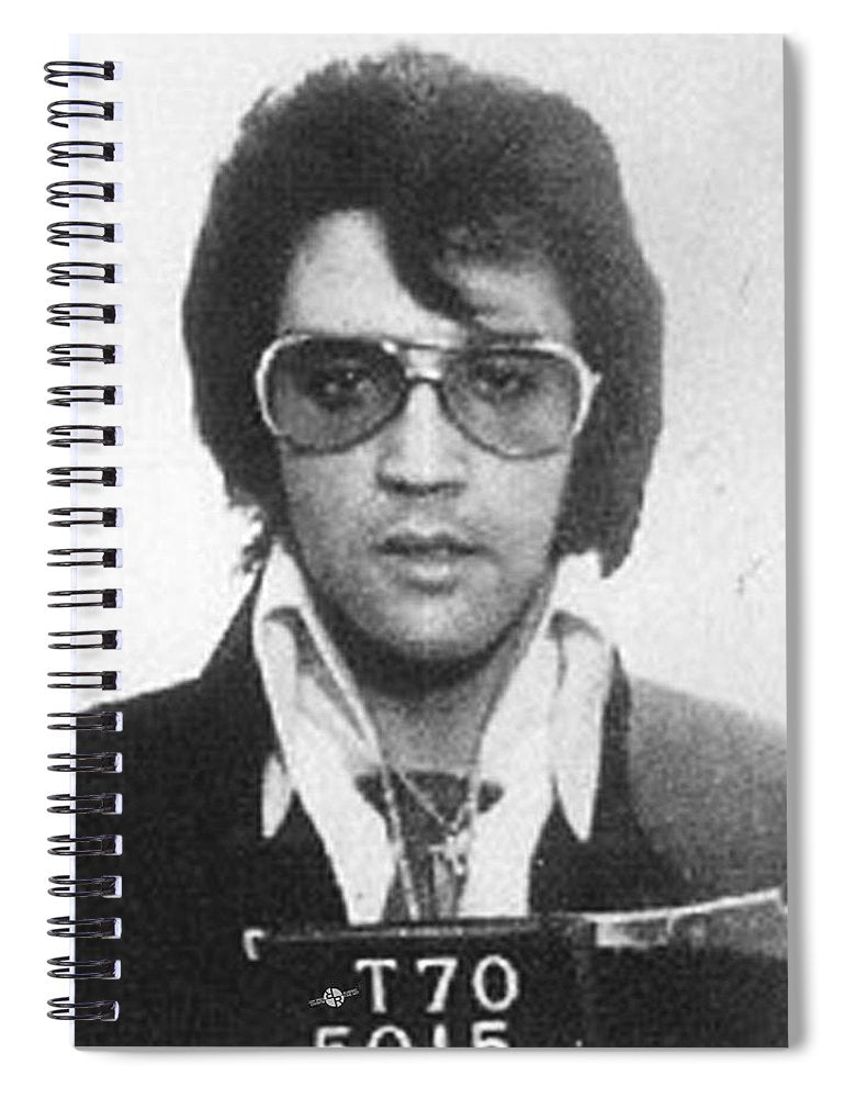 Elvis Presley Mug Shot Vertical - Spiral Notebook