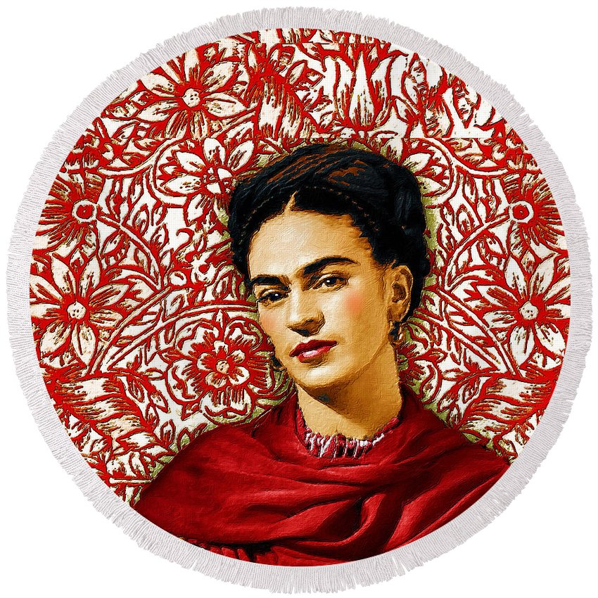 Frida Kahlo 2 - Round Beach Towel