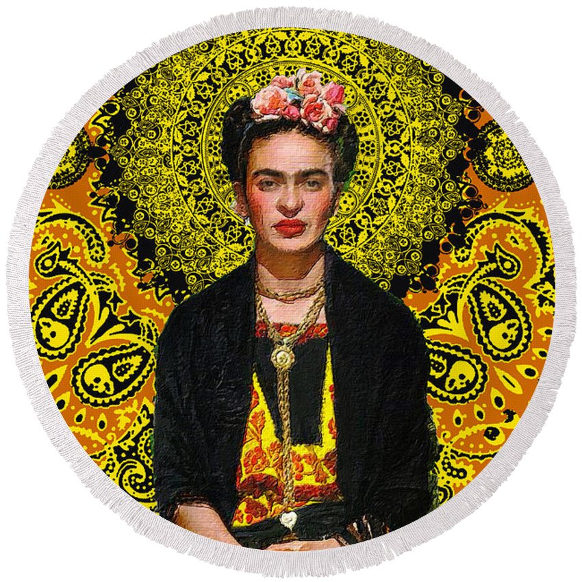 Frida Kahlo 3 - Round Beach Towel