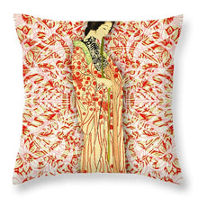 Japanese Woman Rise Dressing - Throw Pillow