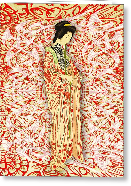 Japanese Woman Rise Dressing - Greeting Card