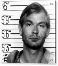Jeffrey Dahmer Mug Shot 1991 Black And White Square  - Acrylic Print