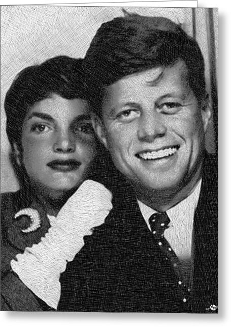 John F Kennedy And Jackie - Greeting Card