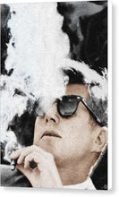 John F Kennedy Cigar And Sunglasses 2 Large - Canvas Print