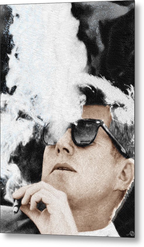 John F Kennedy Cigar And Sunglasses 2 Large - Metal Print