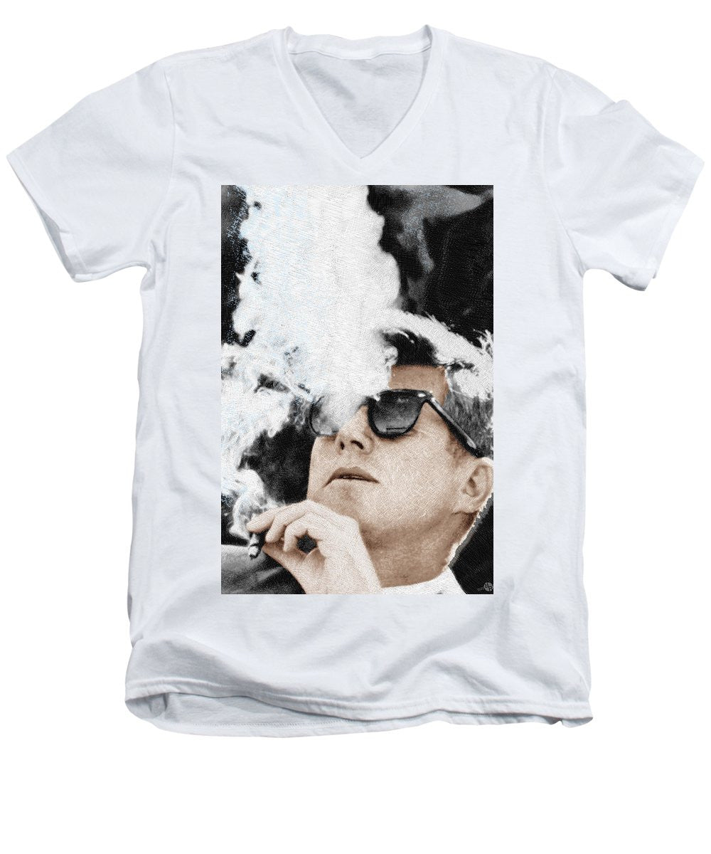 John F Kennedy Cigar And Sunglasses 2 Large - Men's V-Neck T-Shirt