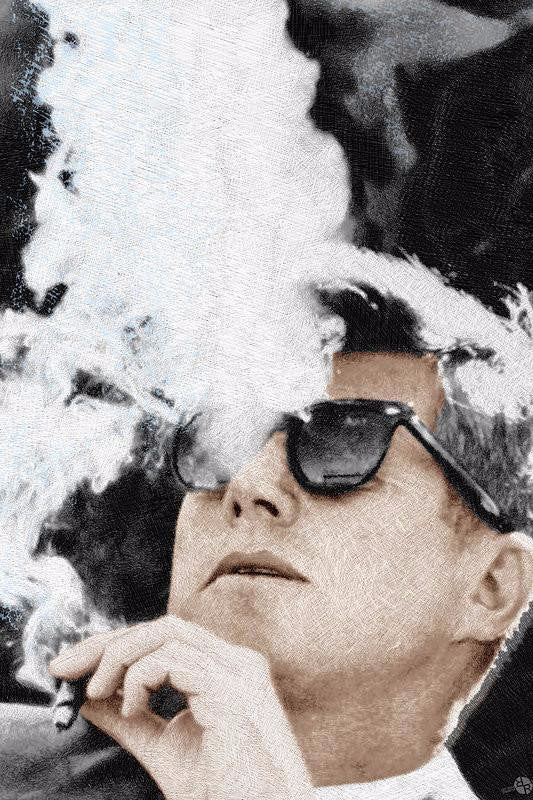 John F Kennedy Smoking a Cigar with Sunglasses