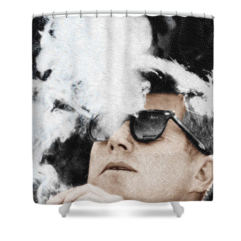 John F Kennedy Cigar And Sunglasses 2 Large - Shower Curtain