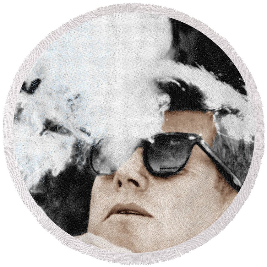 John F Kennedy Cigar And Sunglasses 2 Large - Round Beach Towel