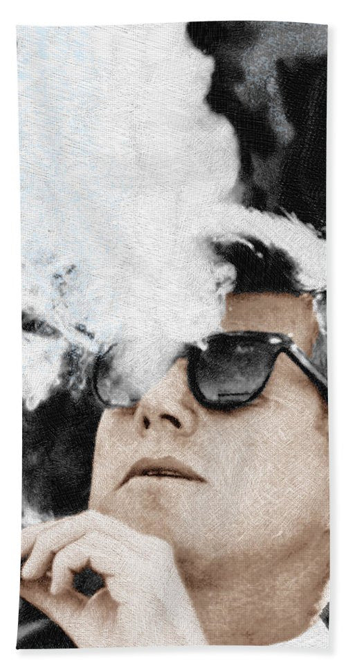 John F Kennedy Cigar And Sunglasses 2 Large - Bath Towel