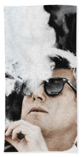 John F Kennedy Cigar And Sunglasses 2 Large - Beach Towel