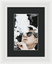 John F Kennedy Cigar And Sunglasses 2 Large - Framed Print