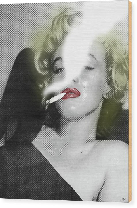 Marilyn Monroe Smokes - Wood Print
