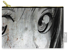 Metallic Anime Girl Eyes 2 Black And White - Carry-All Pouch