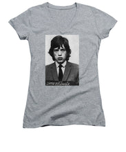 Mick Jagger Mug Shot Vertical - Women's V-Neck (Athletic Fit)