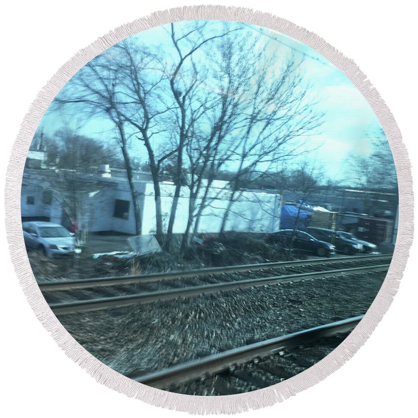New Jersey From The Train 4 - Round Beach Towel
