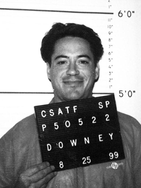 Robert Downey Jr Mug Shot 1999 Black And White - Art Print