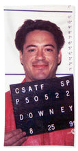 Robert Downey Jr Mug Shot 1999 Color - Beach Towel