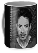 Robert Downey Jr Mug Shot 2001 Black And White - Mug