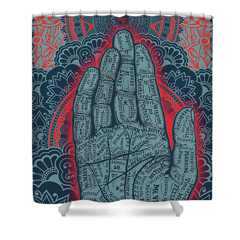 Rubino Blue Zen Namaste Hand - Shower Curtain