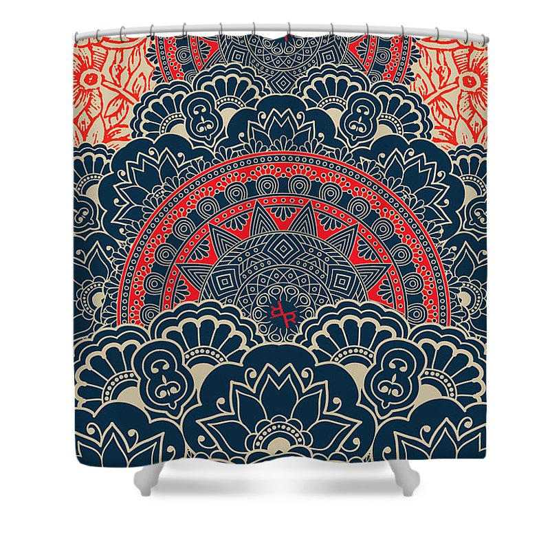 Rubino Blue Zen Namaste - Shower Curtain