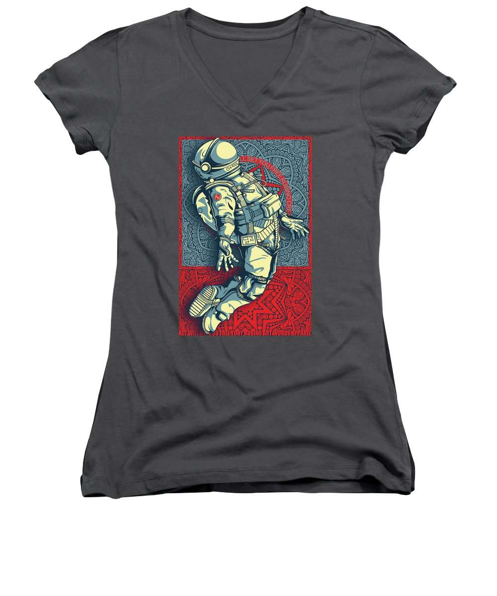 Rubino Float Astronaut - Women's V-Neck (Athletic Fit)