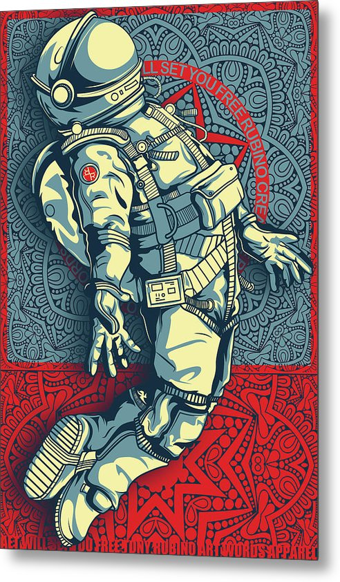 Rubino Float Astronaut - Metal Print