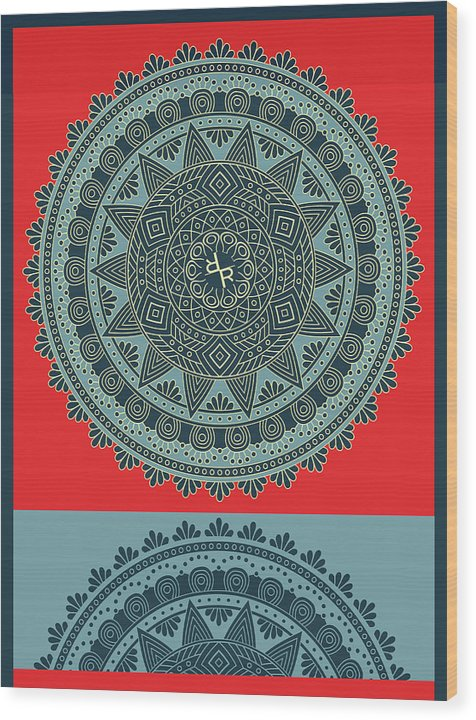 Rubino Indian Mandala - Wood Print